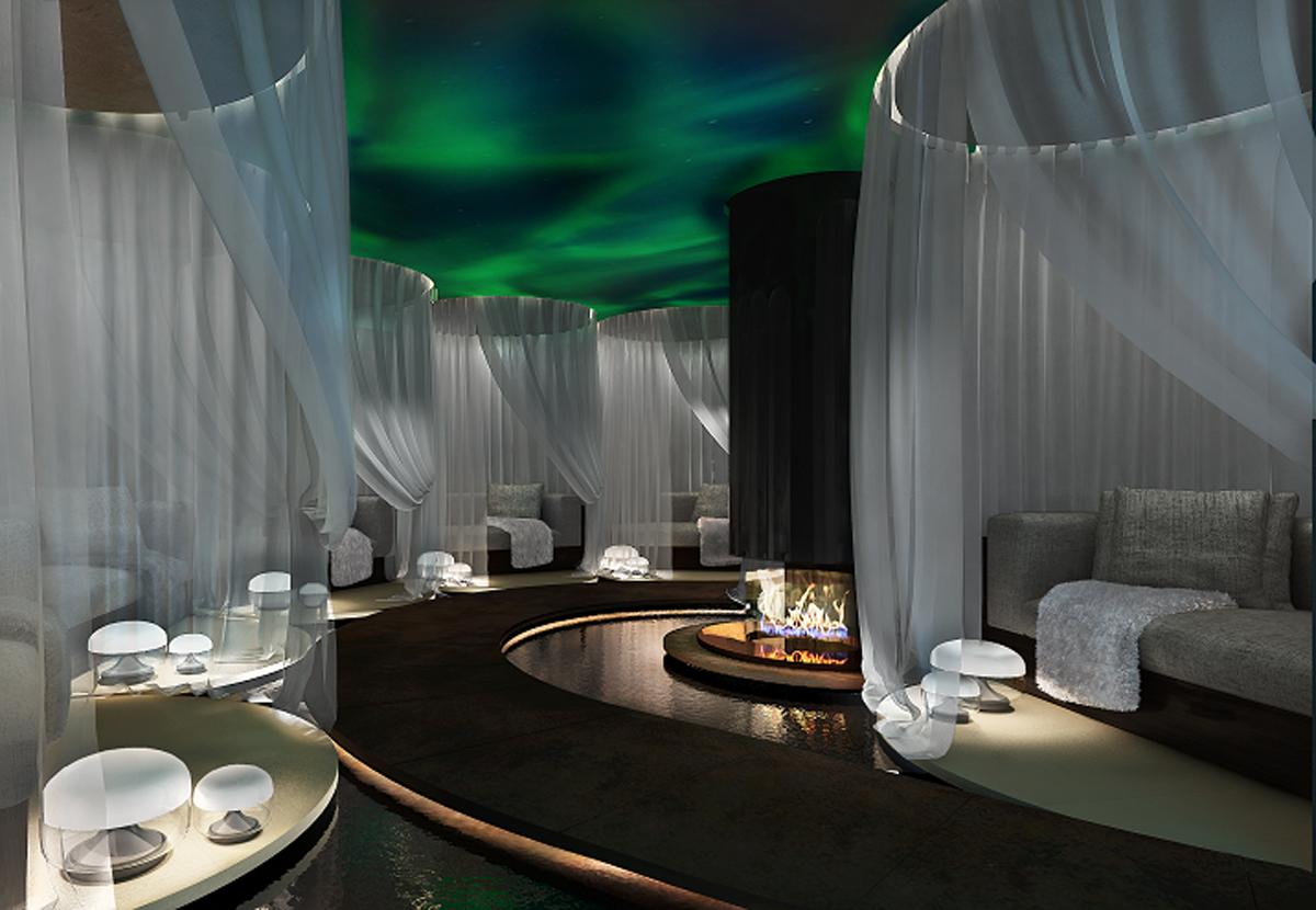 a unique relaxation room features an aurora borealis