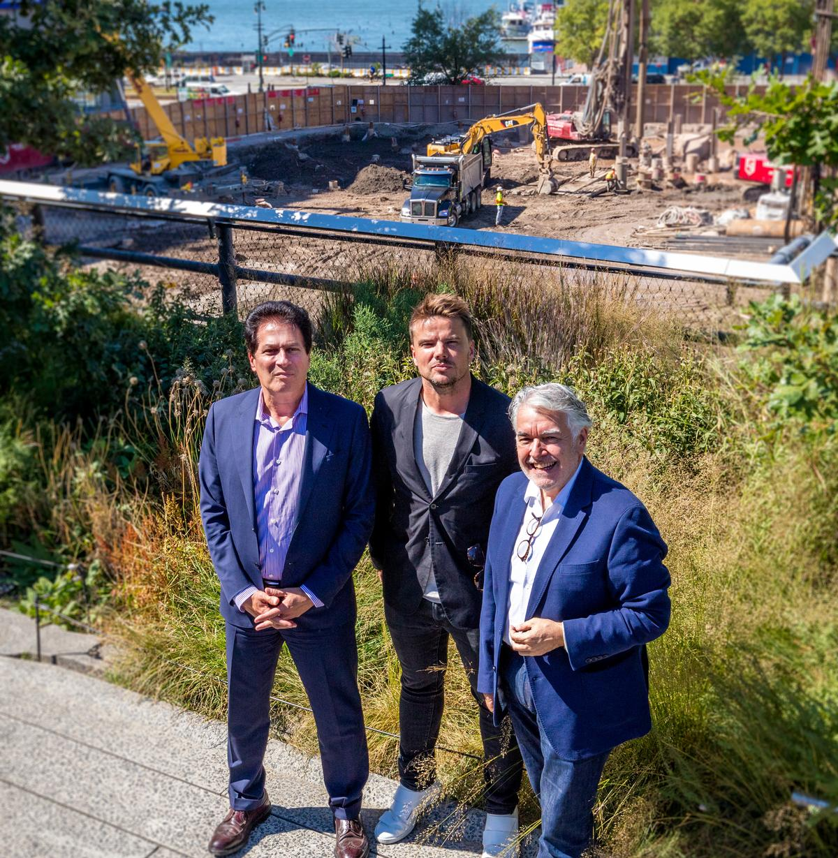 From left to right: Ziel Feldman, chair and founder of HFZ Capital Group; Bjarke Ingels, founding partner of BIG; Neil Jacobs, CEO of Six Senses Hotels Resorts Spas, at the site of Six Senses New York