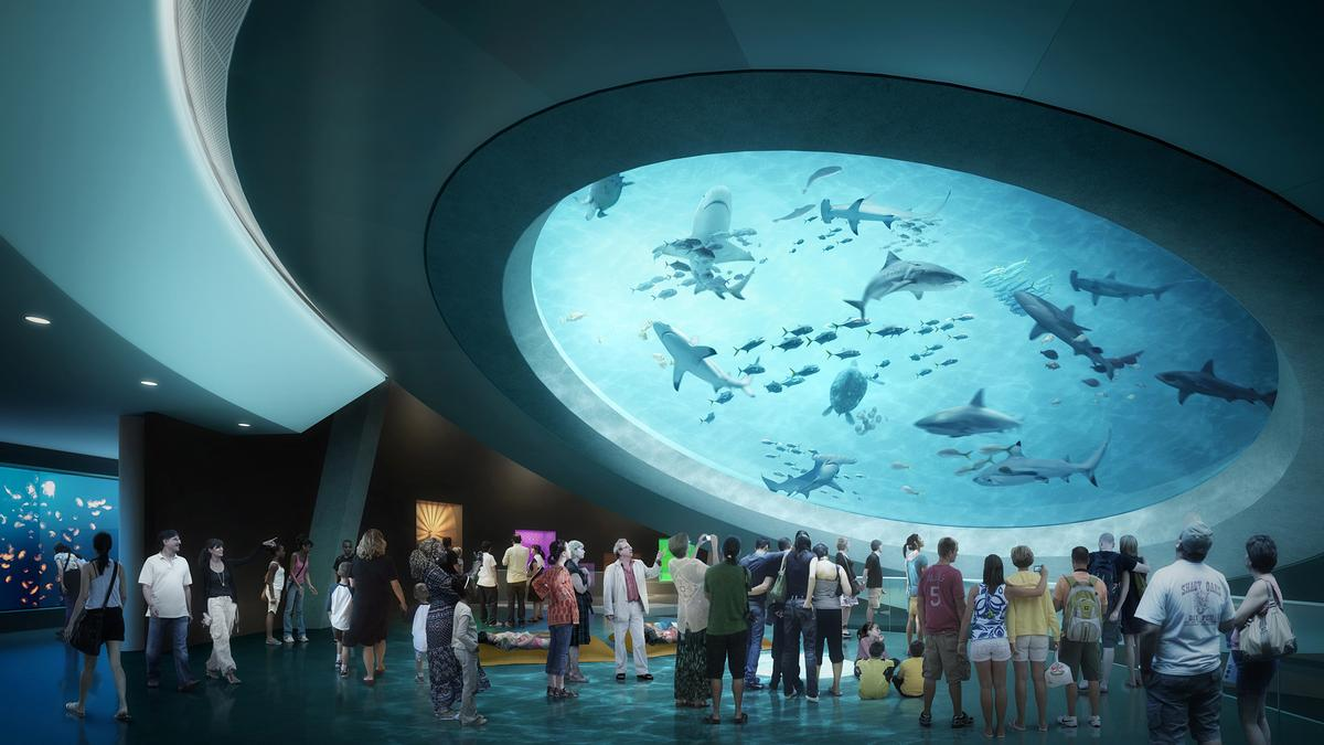 A main part of the museum will be a 510,000 gallon aquarium / Frost Museum of Science