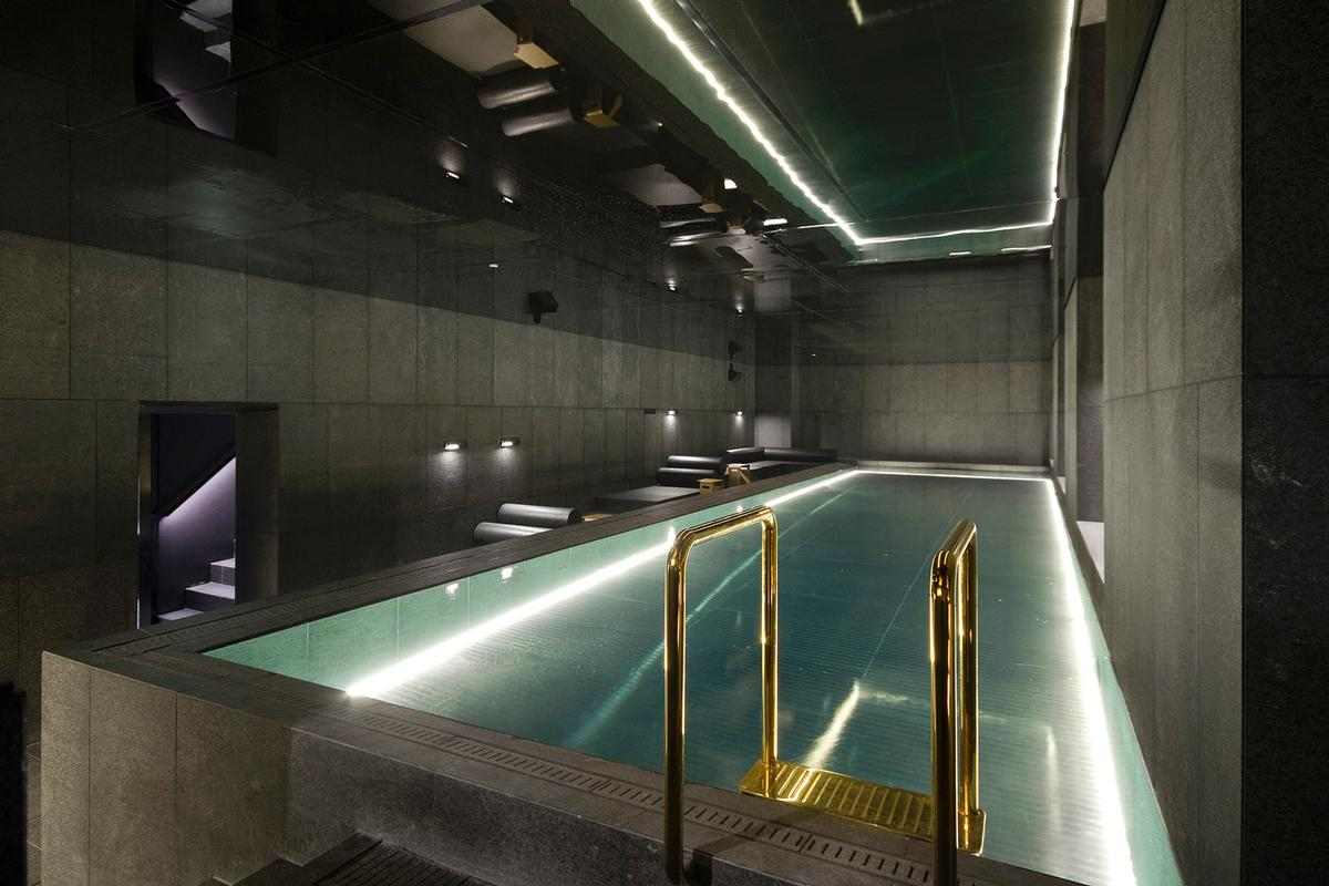 The spa is housed right behind the original 4,000kg vault door