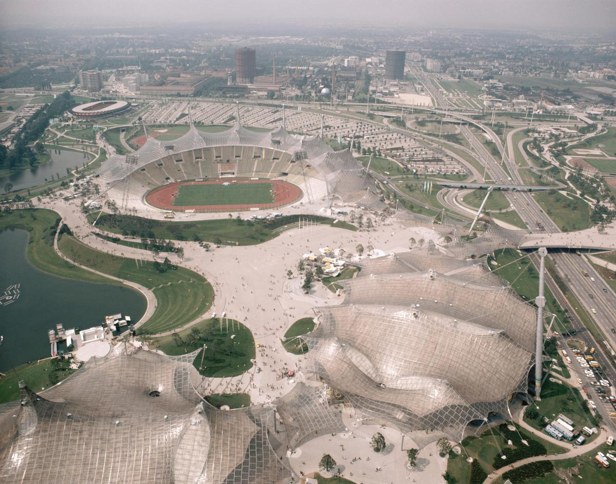The Olympic stadium in Munich is one of the facilities examined in the exhibition