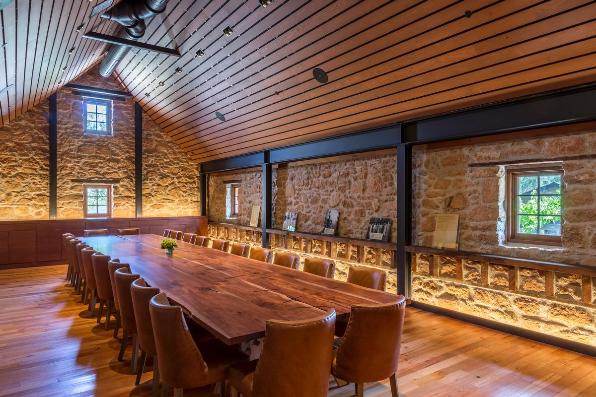 Reclaimed redwood from the the original cellar built on the property has been incorporated within the building / Jay Graham