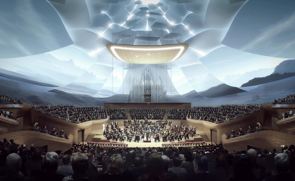 The hall will be the first permanent base for the China Philharmonic Orchestra and will also host performances from touring musicians from all around the world / MAD Architects