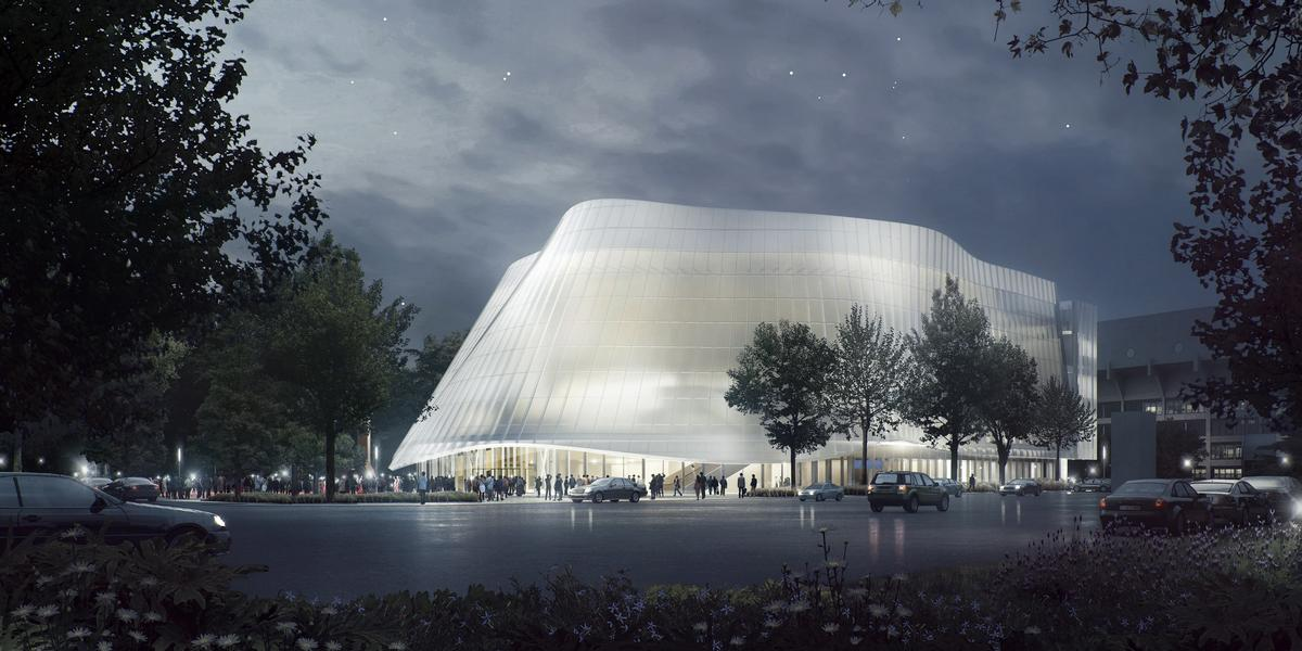 The building will take the form of a curving 11,600sq m (125,000sq ft) structure covered by a translucent curtain facade / MAD Architects