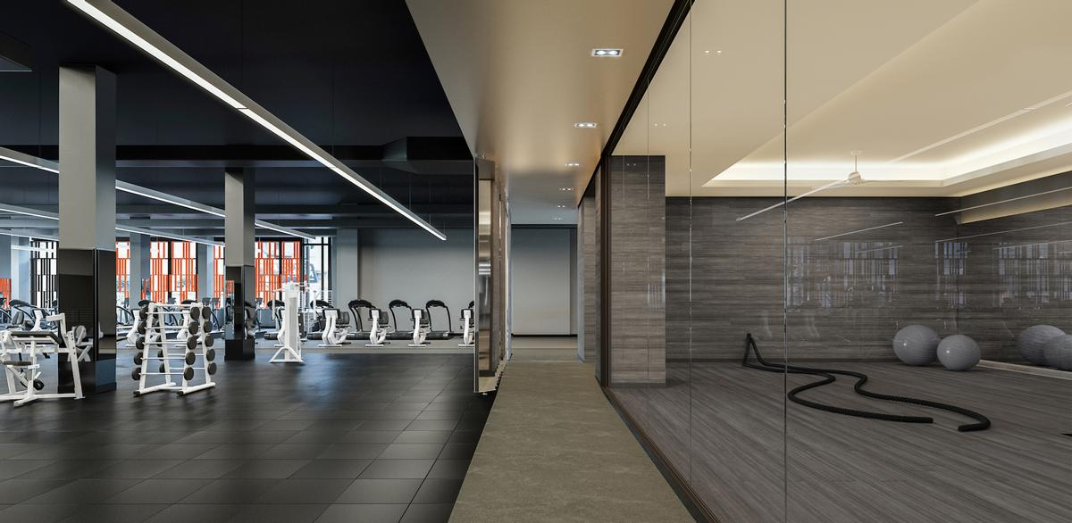 The single-storey club features four fitness studios