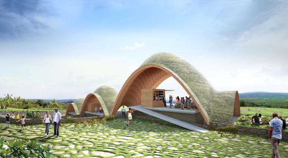 The shape of the stadium's vaults was inspired by Rwanda's hills and the bounce of a cricket ball