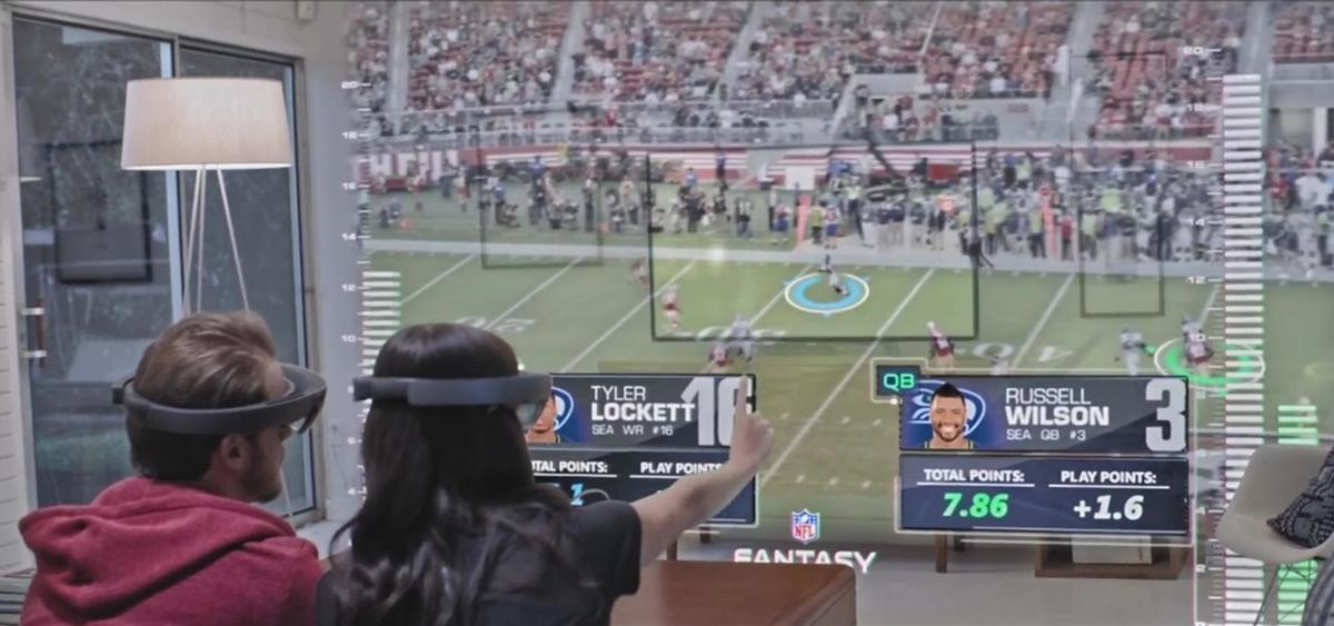 The Microsoft HoloLens is being used in a sporting context to make NFL matches more immersive / Microsoft