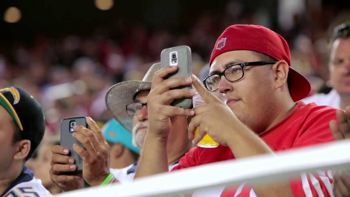 Smartphones can be used within stadiums to display instant replays and match statistics / GMC/YouTube