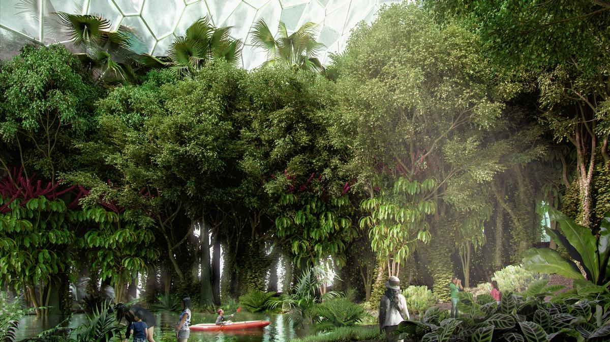 Visitors would be taken on an interactive expedition through different green landscapes – including a tropical rainforest / Mecanoo