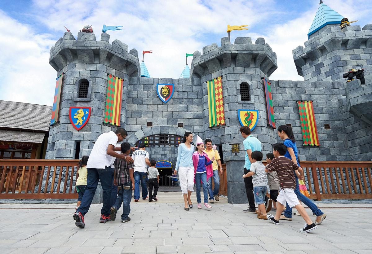 Visitors in the Kingdom zone at Legoland Dubai, which opened on 31 October