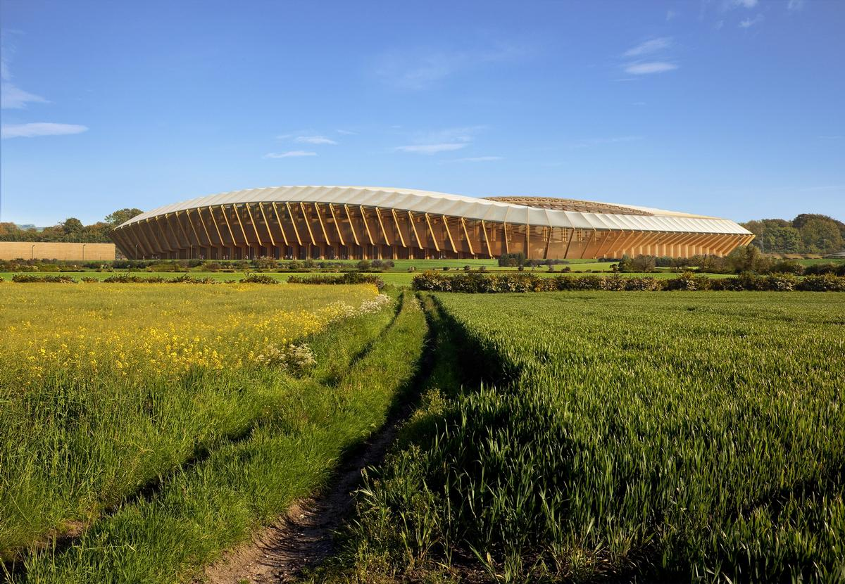 The stadium will be the centrepiece of the £100m Eco Park development – a 100 acre sports and green technology business park / ZHA/VA