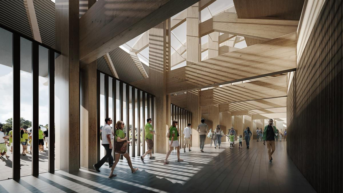 ZHA will build the ground completely out of wood, with the aim of making it 'the greenest football stadium in the world' / ZHA/VA