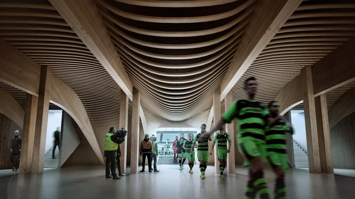The stadium has been envisioned as a local landmark / ZHA/VA