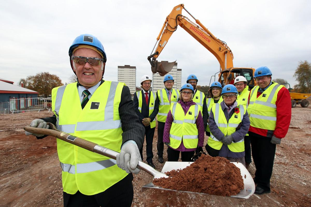 Brian Taylor, chair of Birmingham Community Leisure Trust, marks the start of construction of Stechford Leisure Centre