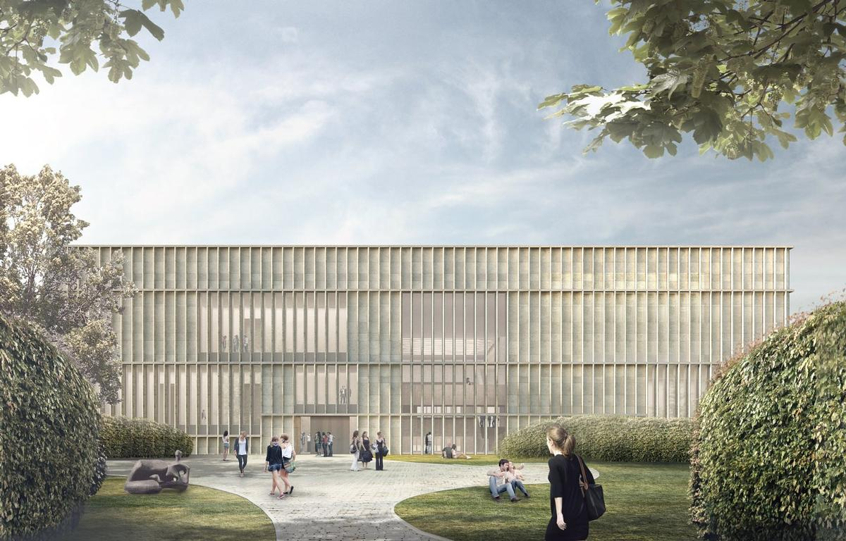 The distinct feature of the new building is the central entrance hall, which will connect a garden at the rear with the square at the front / David Chipperfield Architects