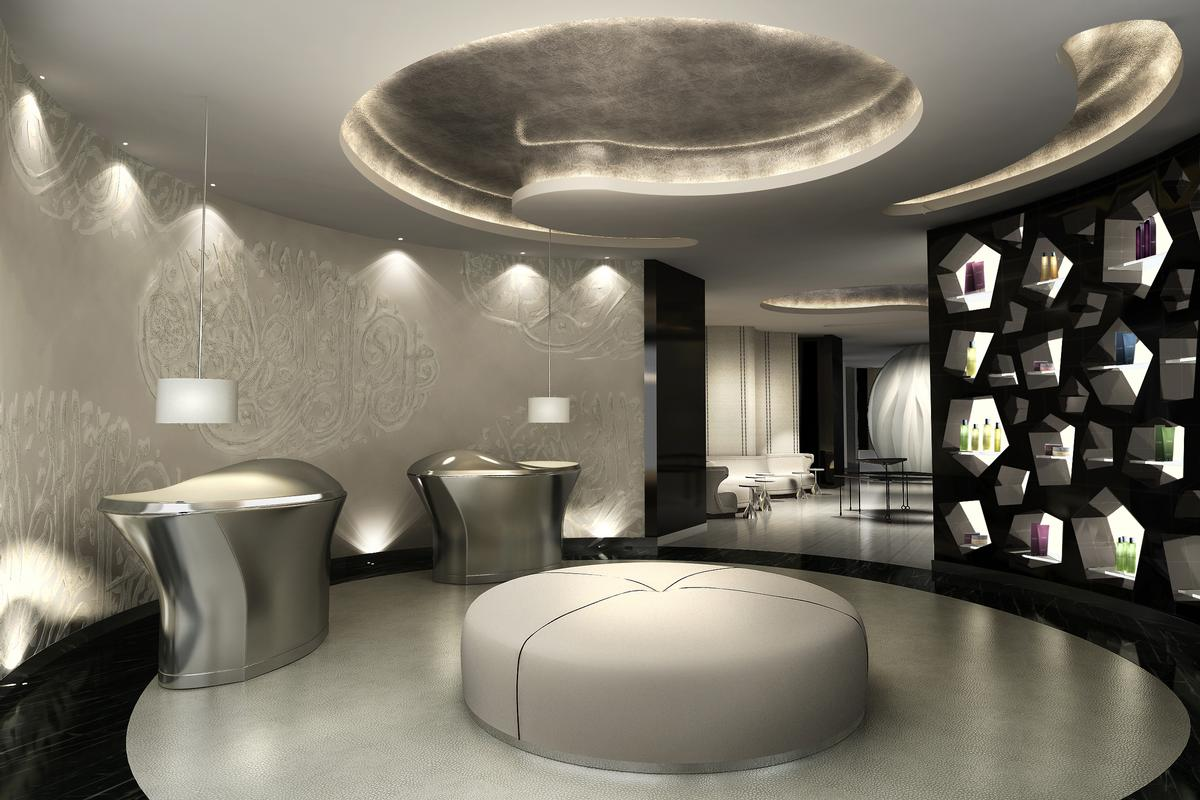 This concept for a spa in Dubai designed by Moore features soft and curving shapes inspired by a vision of flowing robes / MUSE