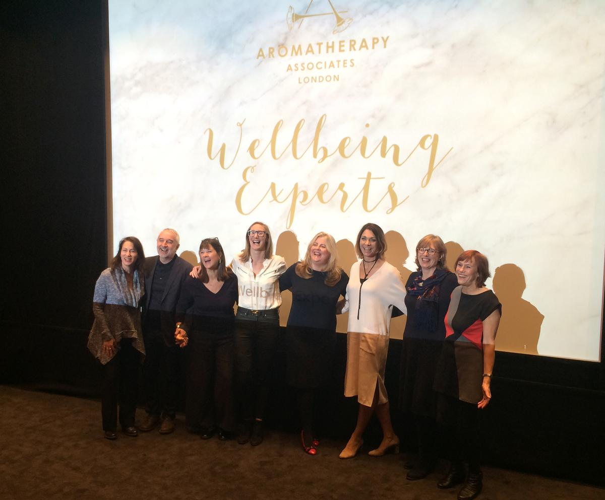 Aromatherapy Associates CEO Tracey Woodward, fourth from right, and her team of wellbeing experts