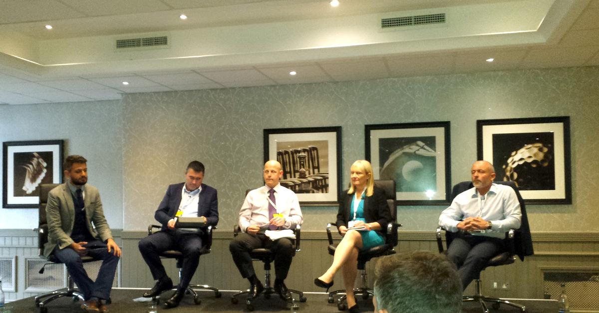 (L-R) Steven Ward, Justin Musgrove, David McLean, Sandra Dodd and Graeme Hinde participate in the panel session at SIBEC 2015