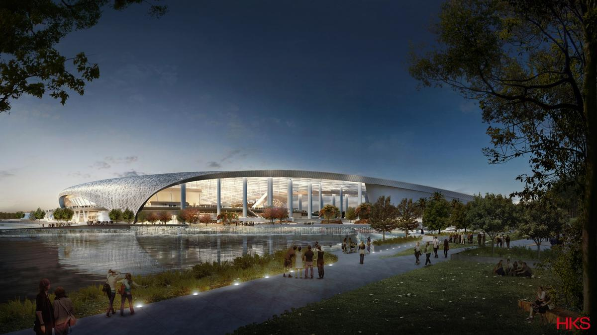 Sized at nearly 3 million sq ft, the multipurpose venue is set to be the largest in the NFL when it opens in 2019 / HKS