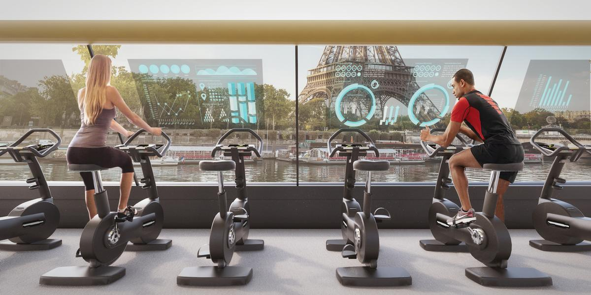 Augmented-reality screens installed inside will show guests both the quantity of energy sourced from their workout / CRA