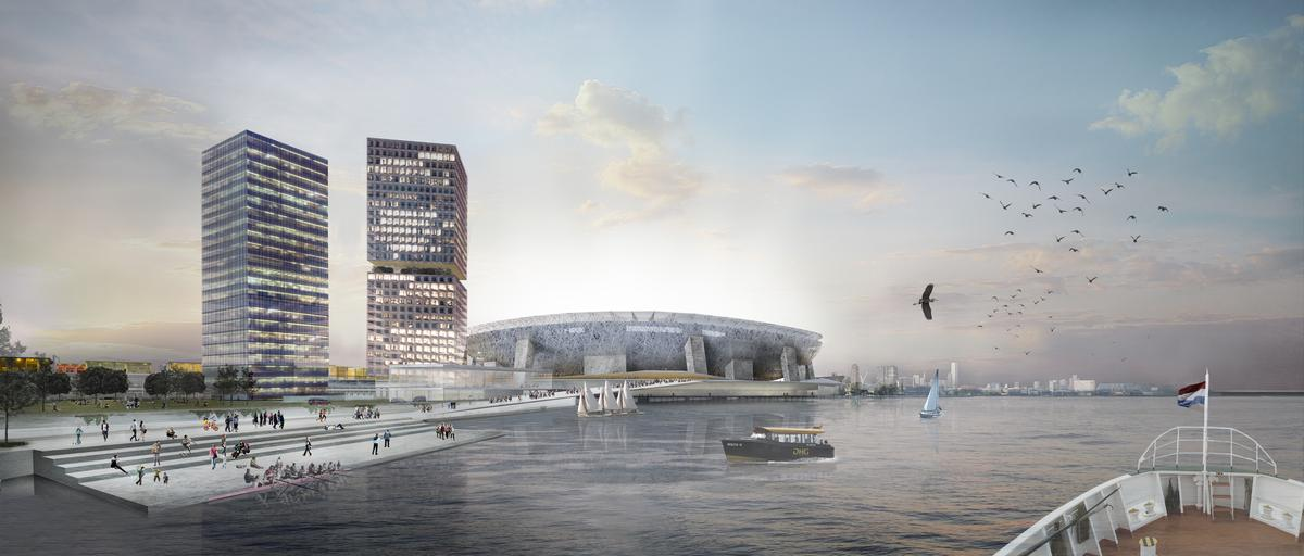 A new 63,000 stadium sits at the heart of the masterplan / OMA