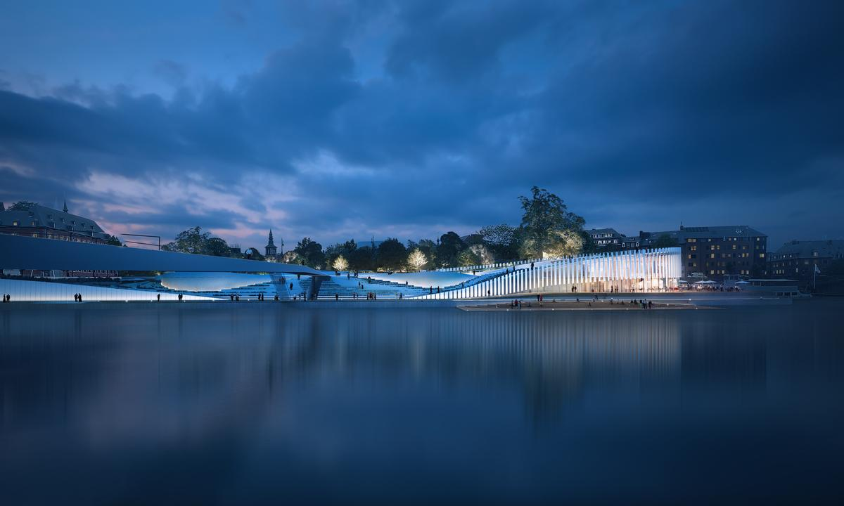 The design concept is inspired by the confluence of the two rivers it neighbours / 3XN