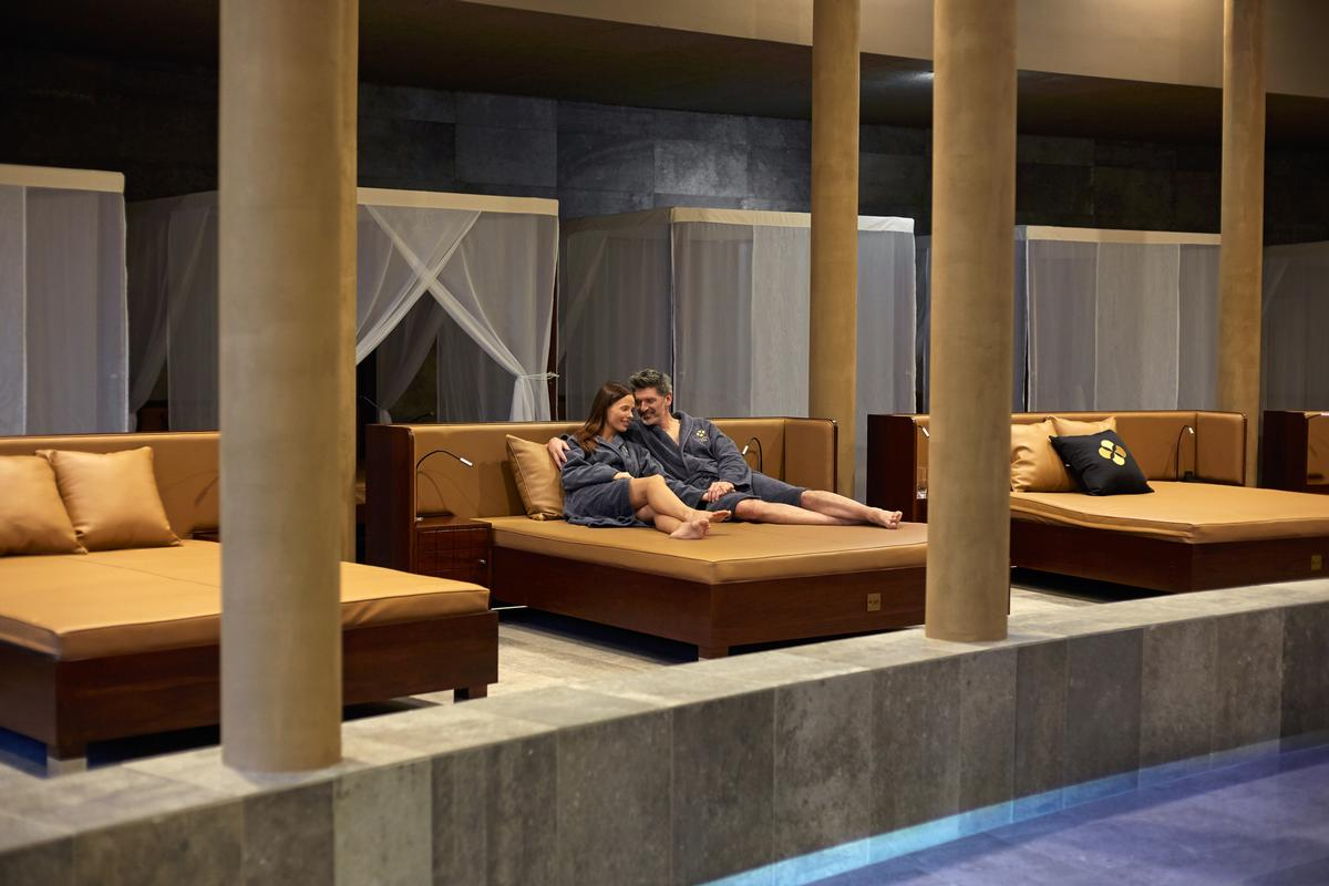 The spa features king-sized relaxation beds with rolls and pillows, giving guests more space and privacy than your average spa