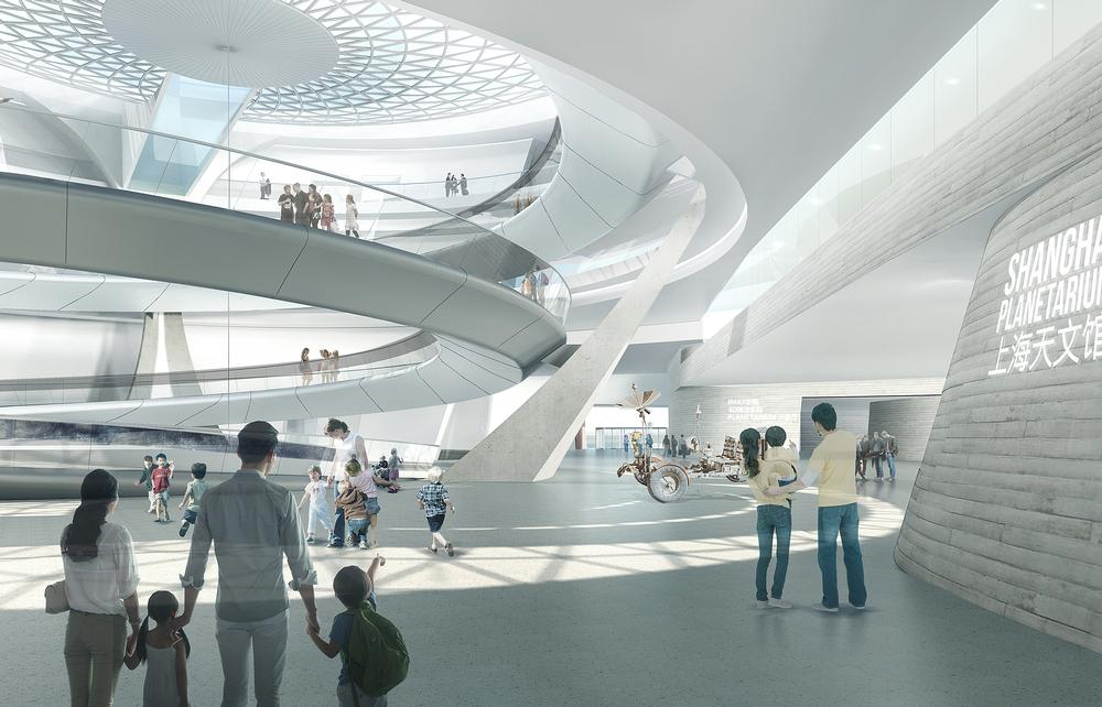 In the main atrium, a ramp spirals down from the inverted dome.