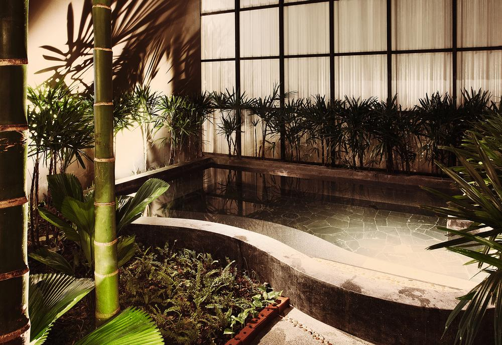 The spa has a distinct Japanese design with simple, minimalist clean lines