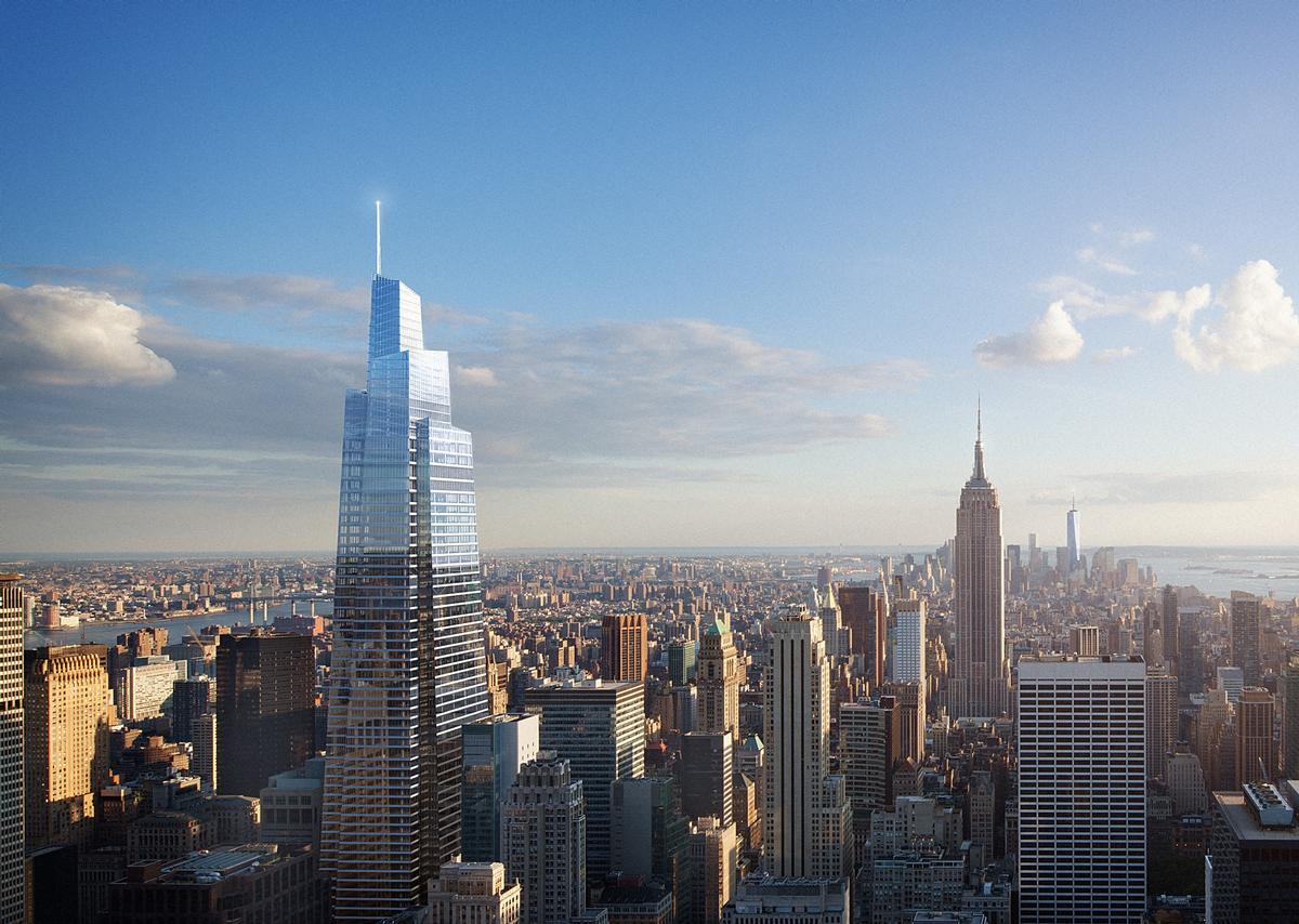 The observation deck will be located near the top of One Vanderbilt, a 1,400ft (426m) skyscraper scheduled to open in New York City in 2020 / SL Green Realty