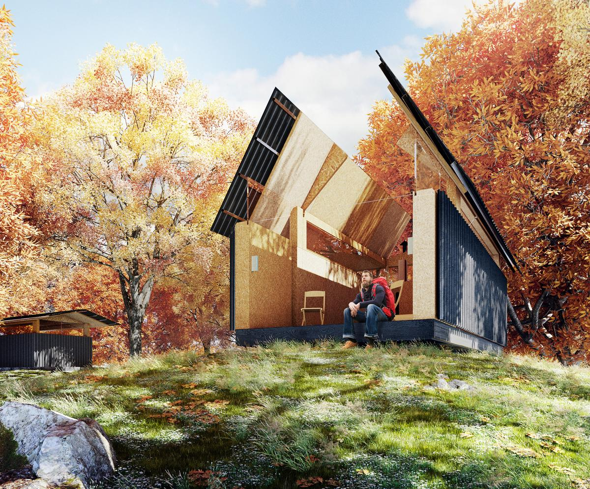 The design concept is influenced by the myth of the Welsh mountain, Cadair Idris, where legend states that travellers sleeping out under the night sky awaken as madmen or poets / WG+P