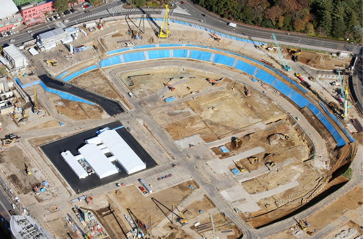 Construction on the stadium has now begun in Tokyo's Shinjuku Ward / Kyodo News via AP