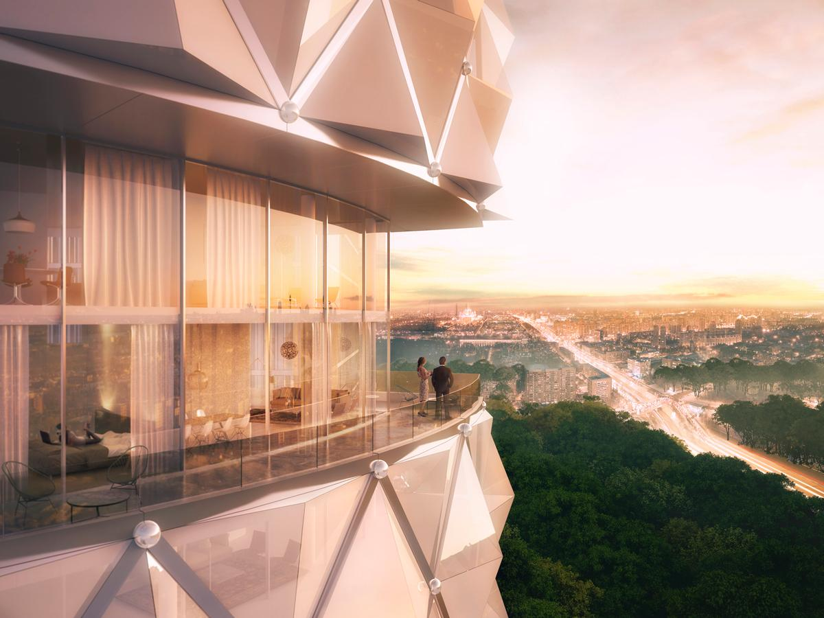 Three hundred luxury residential apartments will offer panoramic views of Moscow / Neutelings Riedijk Architects