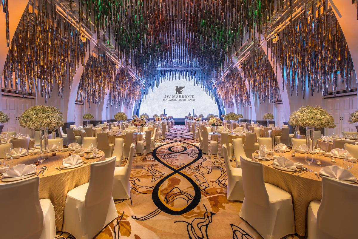 Forest of Lights, an 11,520-light feature designed by Philippe Starck, hangs from the high ceilings of the hotel's Grand Ballroom