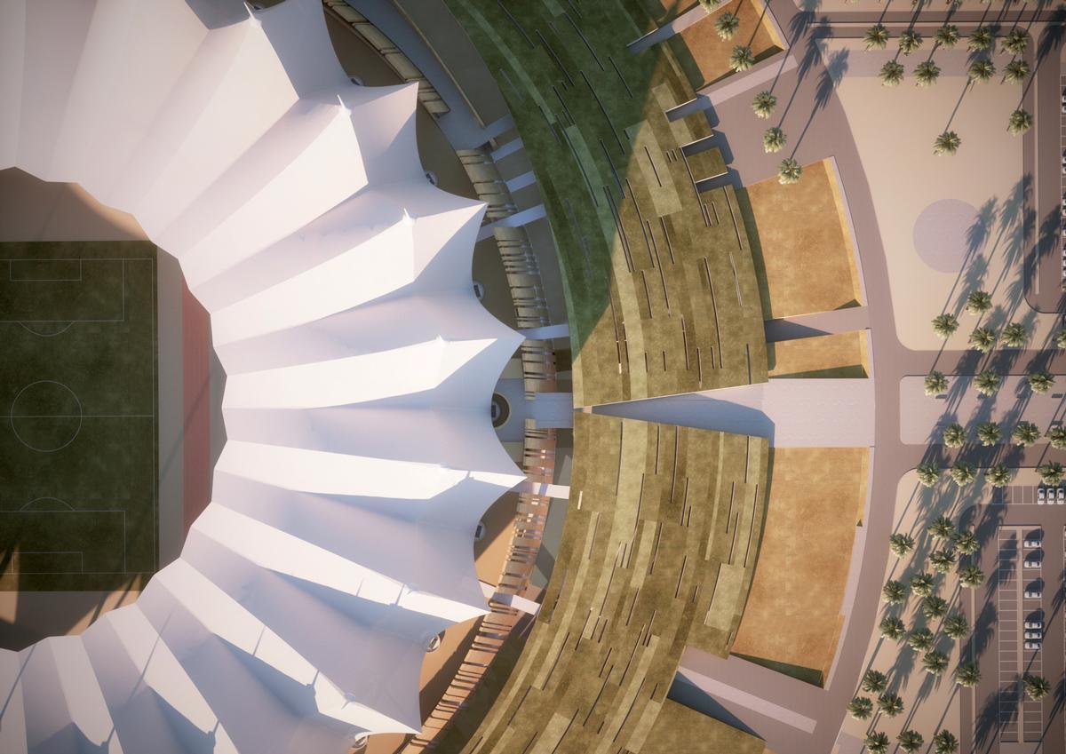 The 'artificial hill' will integrate the stadium with its landscaped surroundings / Schiattarella Associati