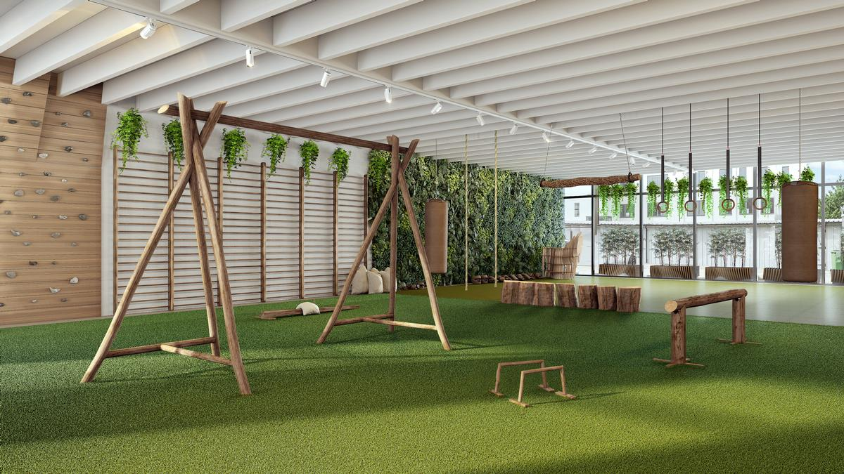 "With a brief to ""bring the outside world indoors"", Jencks has created an environment where gym-goers can work out amid natural vegetation, colours, materials, shapes, scents and sounds. / Biofit"