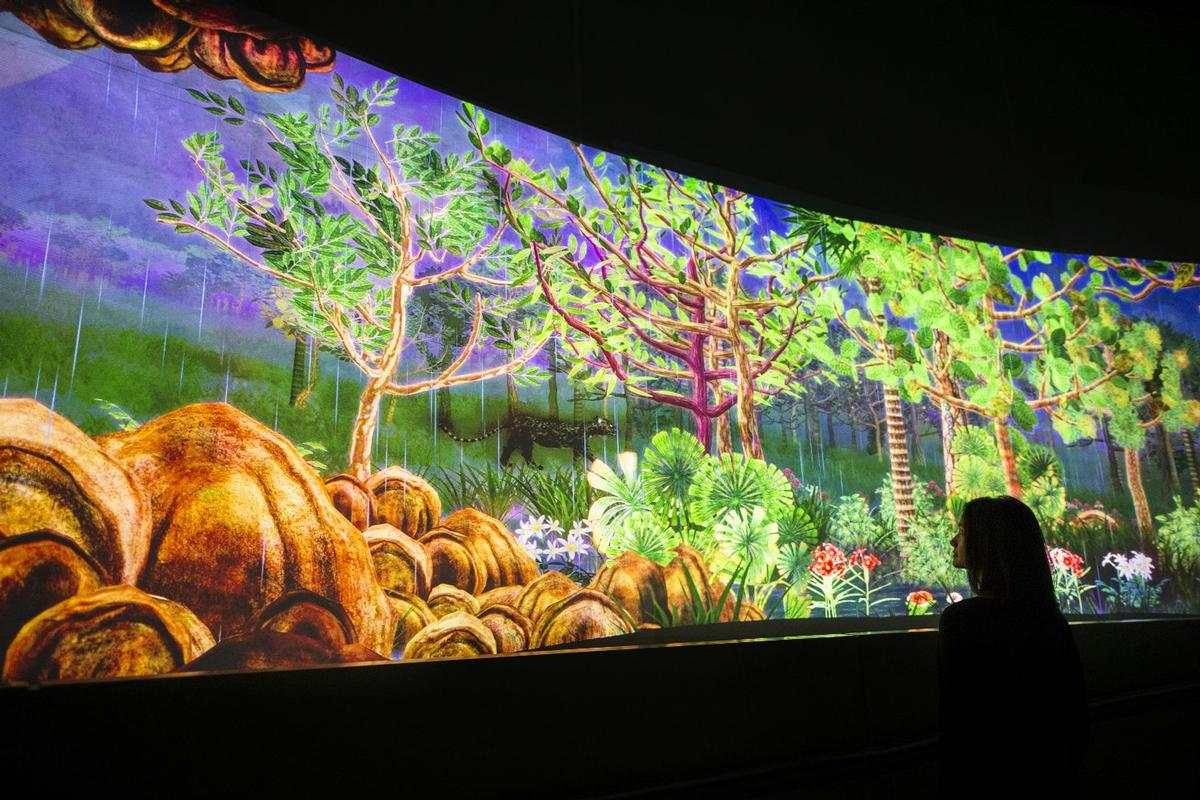 The piece is based on the museum's watercolour collection and mimics the dense tropical rainforests of Southeast Asia