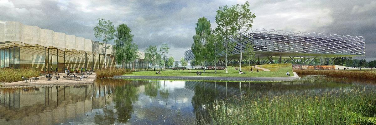 A lake will be located at the heart of the scheme / LOLA Landscape Architects