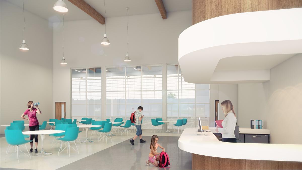 Artist impression of the leisure centre reception area