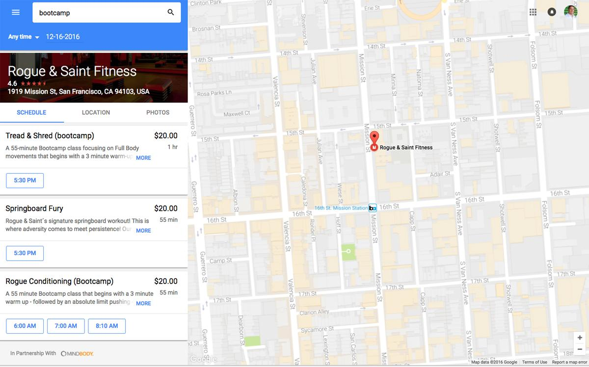 Booking classes with Google Maps