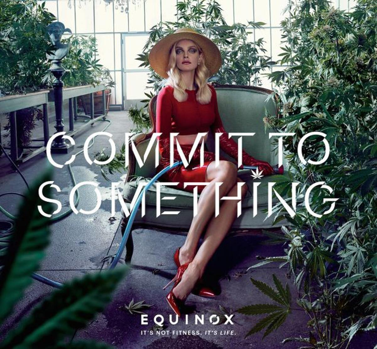 A picture of a woman cultivating cannabis - legal in some US states, but illegal in others – is part of the gym brand's advertising campaign