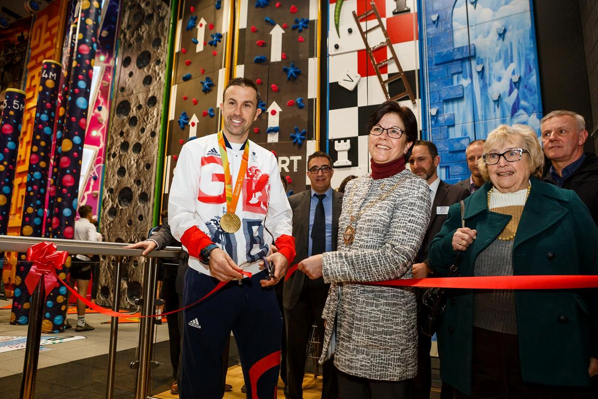 Andy Lewis and councillor Heather Goddard of South Gloucestershire Council officially open the redeveloped facility