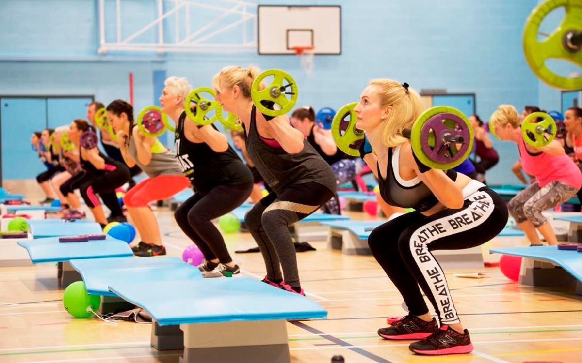 BodyPump is a stationary workout that uses light to moderate weights.