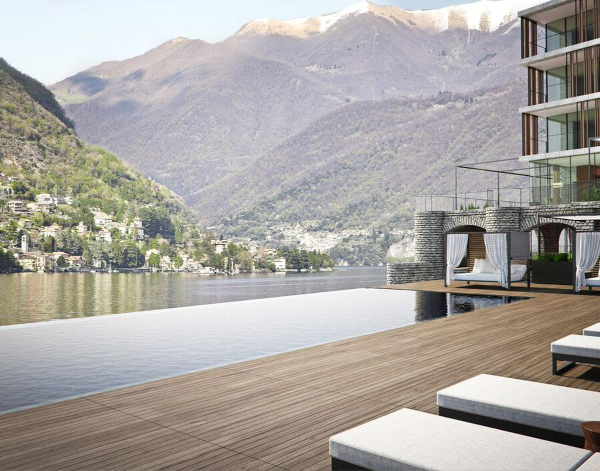 The resort will feature a full-service spa, as well as a 60ft (18m) freshwater infinity pool suspended over the water of Lake Como