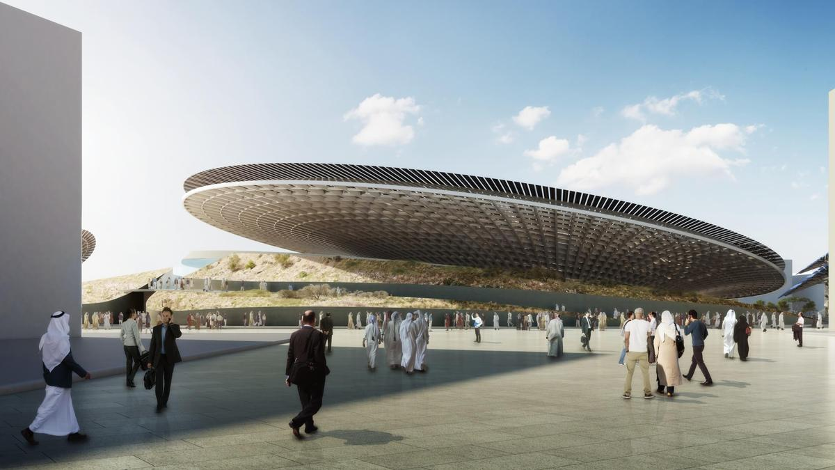 The design is inspired by complex natural processes, and the structures will be working demonstrations of the power of solar power and water harvesting / Grimshaw