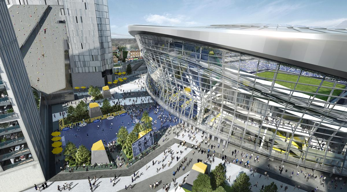 A plaza at the south of the 61,000-capacity ground will host restaurants, street food stalls, cheese-making shops, five-a-side pitches and a microbrewery / Tottenham Hotspur