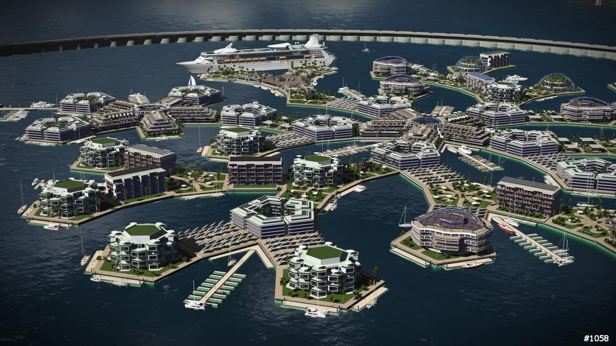 One proposed design for a seasteading settlement / The Seasteading Institute