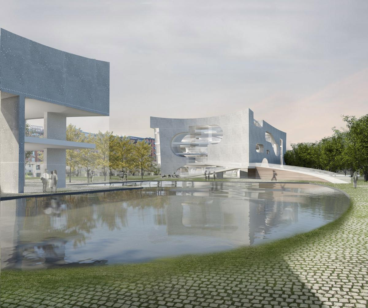 The design concept is described by the studio as merging 'clouds and time,' in reference to philosopher Karl Popper's 1965 lecture on the evolutionary model of free will / Steven Holl Architects