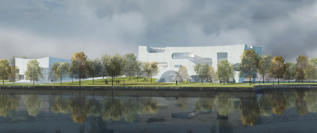 The buildings as 'cloud-like in their porosity and openness' in order to invite the public in / Steven Holl Architects