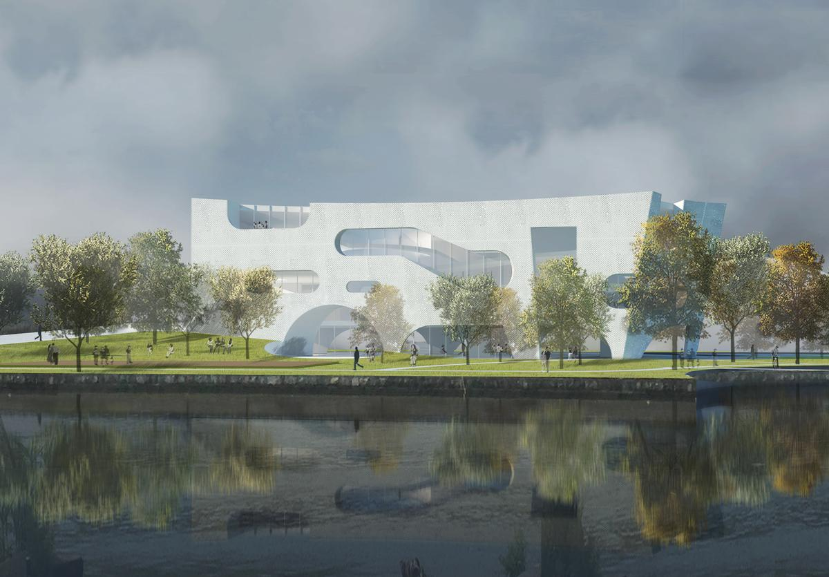 The buildings, which are geothermally cooled, are designed for LEED platinum certification / Steven Holl Architects